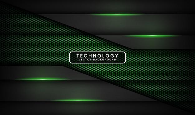 Abstrait de la technologie noire 3d avec hexagone texturé, couche de chevauchement avec décoration d'effet de lumière verte