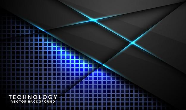 Abstrait de la technologie noire 3d avec texture aléatoire, couches superposées avec décoration d'effet de lumière bleue