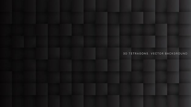 Abstrait de la technologie noire minimaliste des carrés 3d