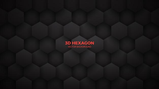 Abstrait de la technologie noire minimaliste hexagones 3d