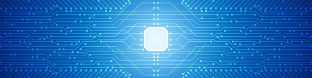 Abstrait de la technologie numérique, motif de carte de circuit imprimé bleu, puce électronique, ligne électrique