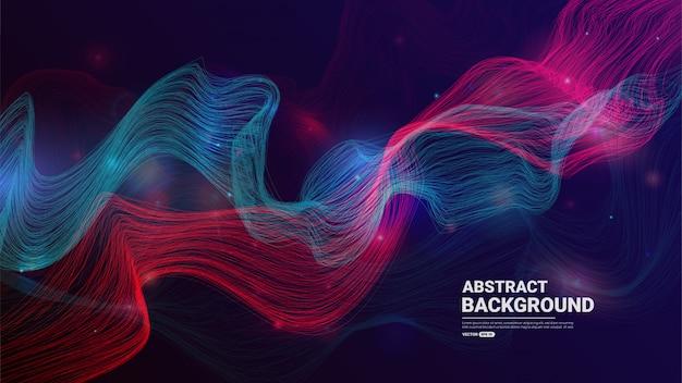 Abstrait de technologie avec des particules qui coule