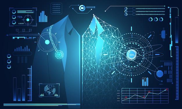 Abstrait technologie science concept docteur données santé numérique