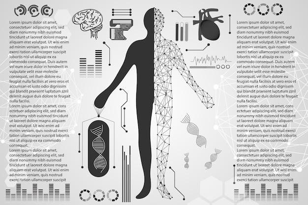 Abstrait technologie science corps humain numérique soins de santé