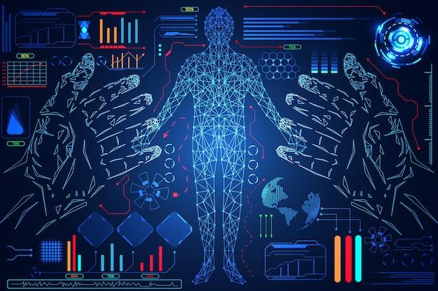 Abstrait technologie science hud interface corps humain numérique