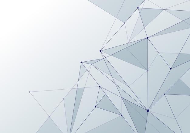 Abstrait technologie style blanc low poly connexion avec des nœuds. contexte de la perspective future du plexus de la blockchain de données mondiales. illustration vectorielle