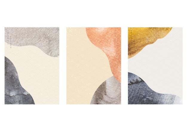 Abstrait avec texture aquarelle. élément de courbe avec motif de vague japonaise dans un style vintage.