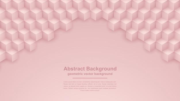 Abstrait texture or rose avec des formes hexagonales.
