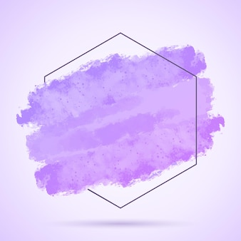 Abstrait avec trait grunge peint à la main et cadre hexagonal