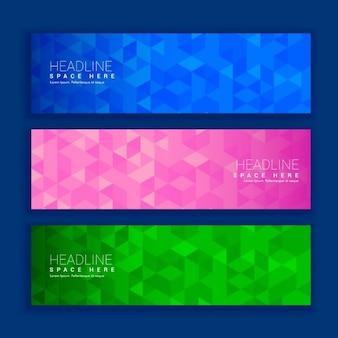 Abstrait triangle géométrique façonne des bannières en trois couleurs différentes