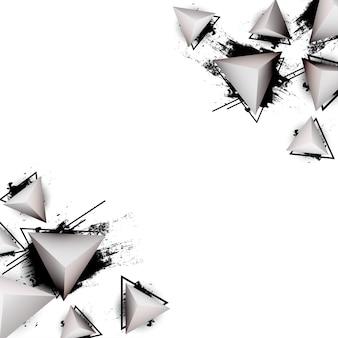 Abstrait avec des triangles 3d modernes et des éclaboussures d'encre