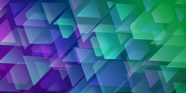 Abstrait de triangles et de polygones qui se croisent dans des couleurs violettes et vertes