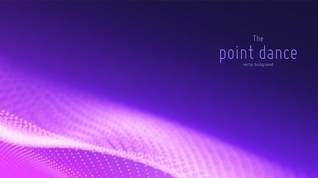 Abstrait avec vague de particules violettes