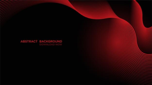 Abstrait avec des vagues rouges sur dark