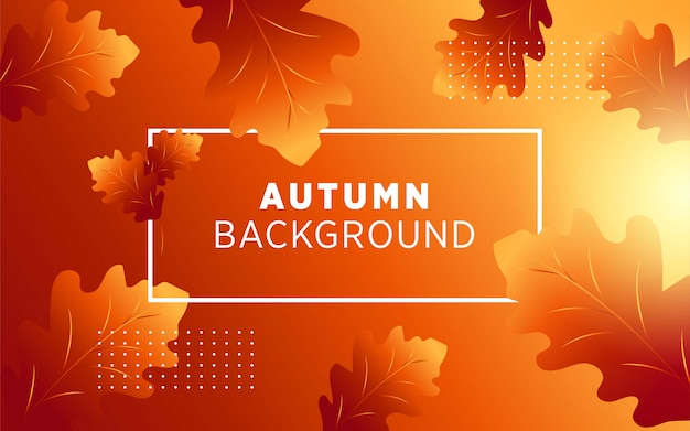 Abstrait vecteur automne avec les feuilles et les rayons dorés.