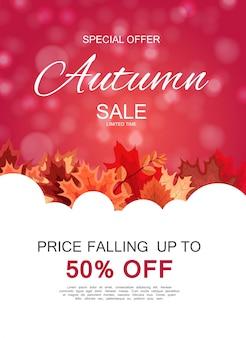 Abstrait vente automne avec la chute des feuilles d'automne