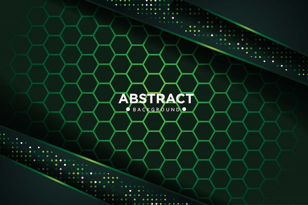 Abstrait vert foncé se chevauchent avec des points brillants et une conception de maille hexagonale fond de technologie futuriste de luxe moderne