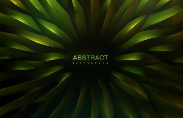 Abstrait vert métallique avec motif de formes d'échelle organique radiale