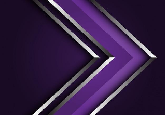 Abstrait violet ligne argent flèche direction fond futuriste de luxe.