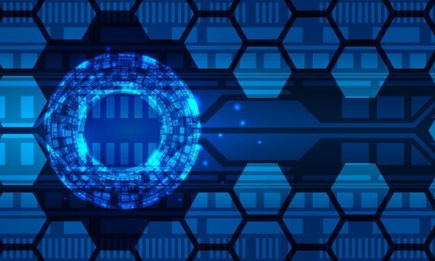 Abstrait virtuel du circuit numérique hexagonal du cercle radial futuriste