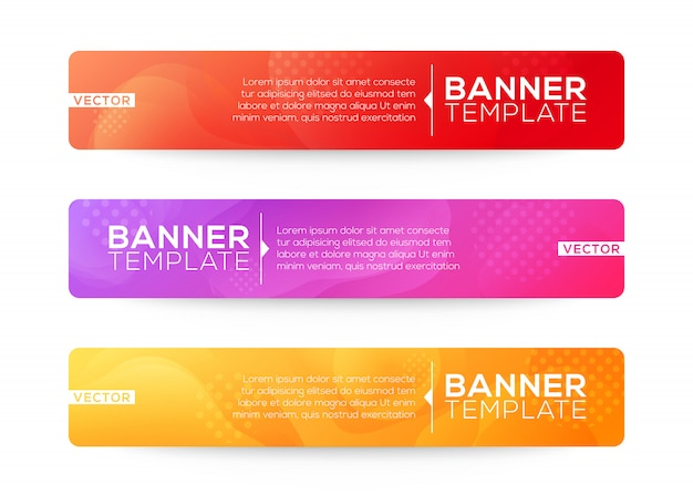 Abstrait web design bannière ou en-tête modèles. composition de formes de dégradé fluide avec des couleurs vives colorées