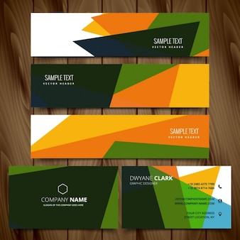 Abstraite bannières colorées et cartes de visite