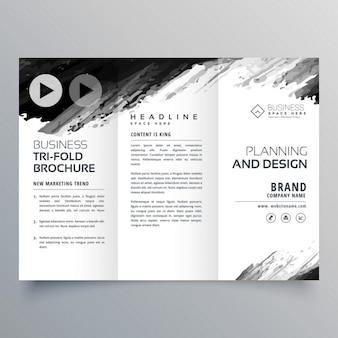 Abstraite encre noire trifold modèle de présentation pour votre marque