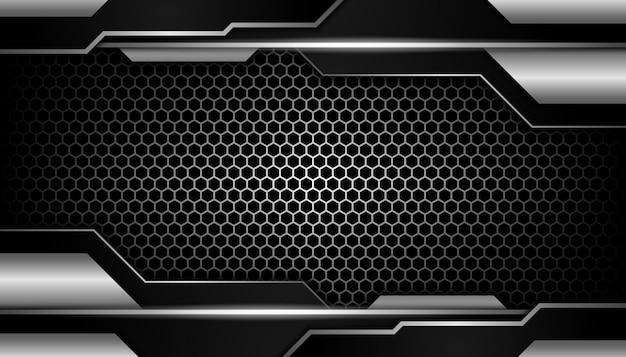 Abstraite lumière argentée sur fond sombre de luxe hexagone