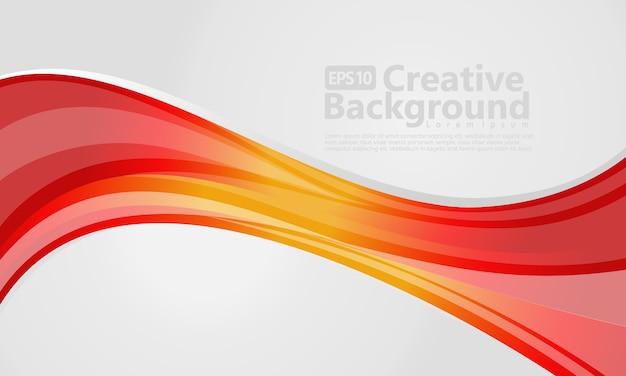 Abstraits lignes ondulées rouges et jaunes. fond de vecteur blanc.