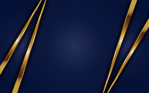 Abtract dynamique fond bleu foncé avec ligne dorée. fond abstrait moderne