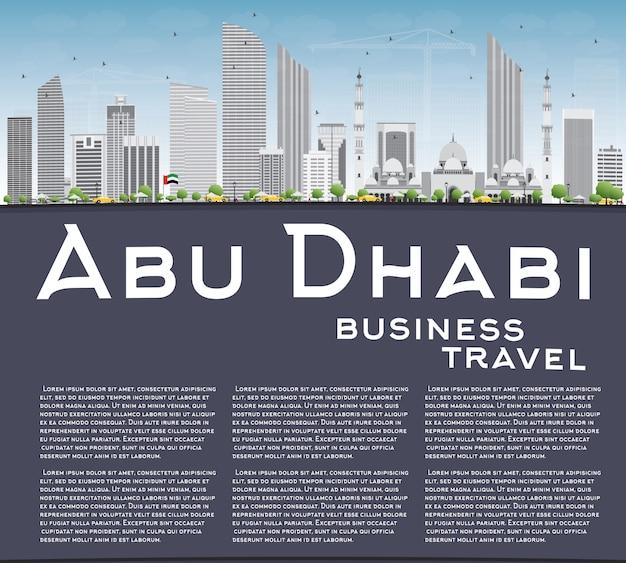 Abu dhabi city skyline avec bâtiments gris et espace copie.