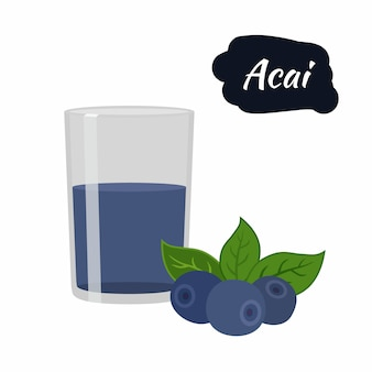 Acai berry avec boisson en verre