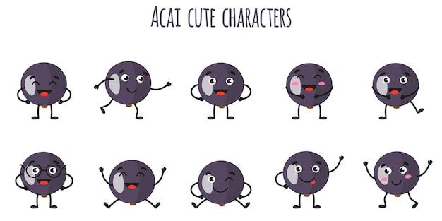 Acai fruits mignons personnages gais drôles avec différentes poses et émotions. collection de nourriture de désintoxication antioxydante de vitamine naturelle. illustration isolée de dessin animé.