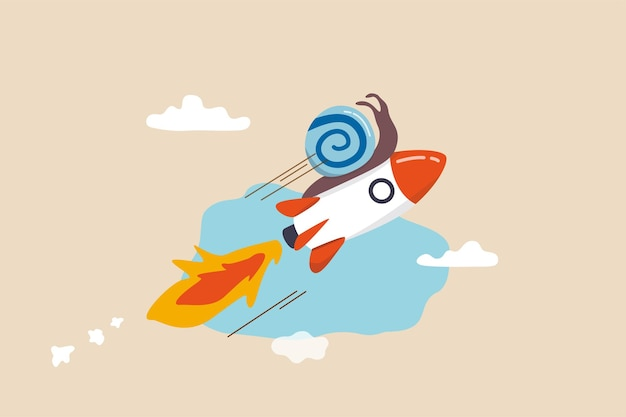 Accélérez les affaires, augmentez l'agilité et l'efficacité, sprint ou rapide, innovation pour augmenter le concept de vitesse de travail, escargot lent volant rapidement avec la métaphore du propulseur de fusée pour accélérer le processus de travail.