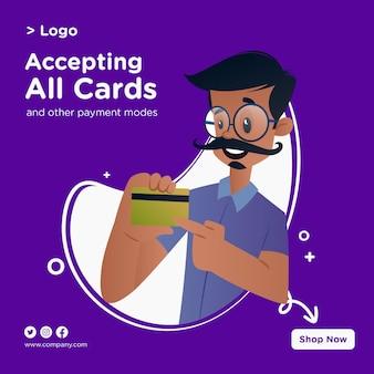 Accepter toutes les cartes de conception de bannière avec un tailleur montrant une carte atm