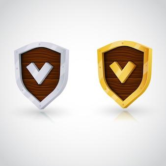 Acceptez le bouclier en bois avec de l'or et de l'acier. illustration claire