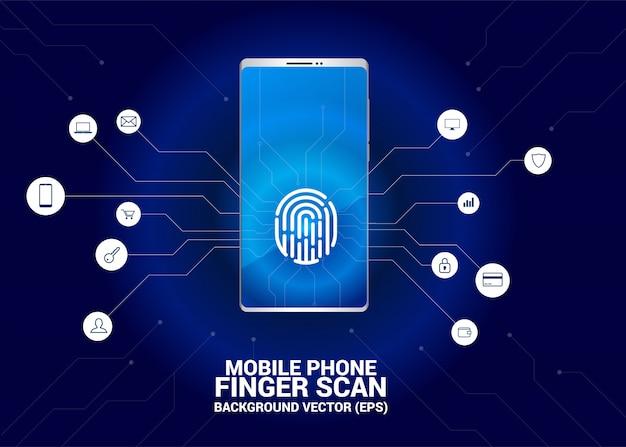 Accès au scan des doigts sur l'écran du téléphone mobile