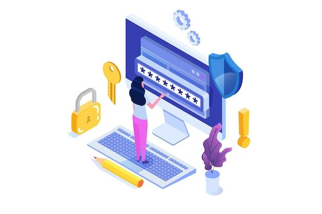 Accès aux données, concept isométrique de mot de passe. formulaire de connexion à l'écran.
