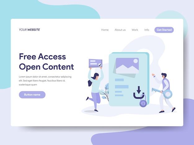 Accès gratuit et contenu ouvert pour la page web