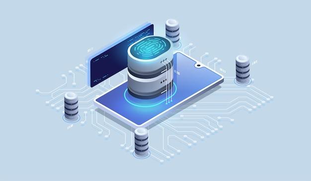 Accès de sécurité numérique avec données biométriques.