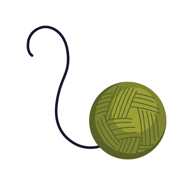 Accessoire chat pelote de fil. dispositif de jouet amusant pour jouer avec un animal. illustration colorée pour animalerie. icône de soins de chaton.