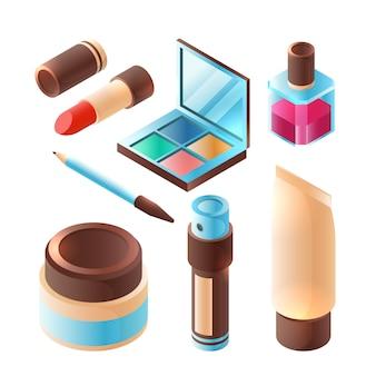 Accessoire de maquillage de beauté. rouge à lèvres rose professionnel fard à paupières palette en plastique conteneur isométrique
