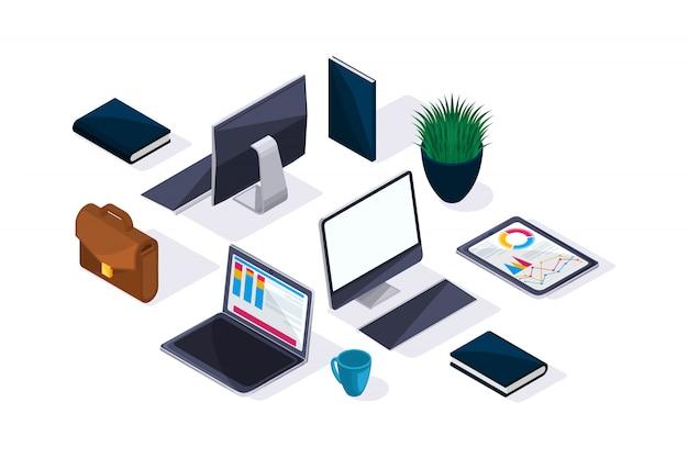 Accessoires d'affaires en isométrique, beau concept de publicité et de présentations. ordinateur portable, tablette, moniteur, mallette