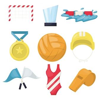 Accessoires de beach volley pour joueurs de sports nautiques. piscine de volley-ball saine. water-polo club de beach volley. servir l'équipe de jeu jouer à la volley.