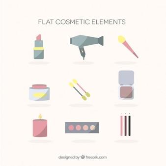 Accessoires de beauté dans le design plat et couleurs pastel