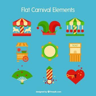 Accessoires de carnaval dans le style plat