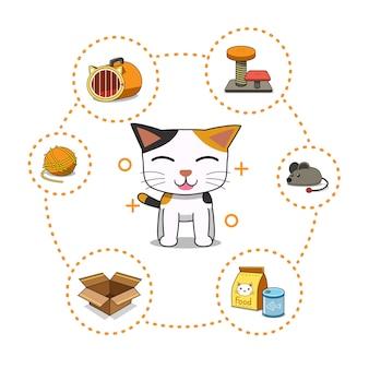 Accessoires et chat de personnage de dessin animé de vecteur
