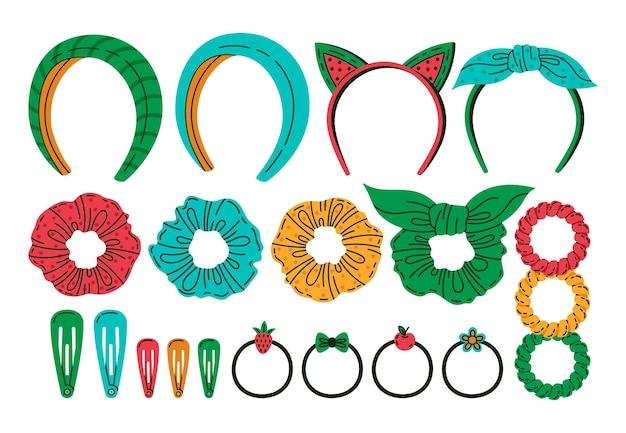Accessoires de cheveux de dessin animé doodle ensemble de vecteurs de bandeaux femme
