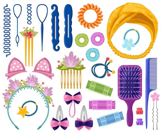 Accessoires De Cheveux Femme. Accessoire De Cheveux De Dessin Animé, épingles à Cheveux, Bandeau, Bandes élastiques Vecteur Premium