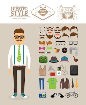 Accessoires, coiffures et étiquettes hipster.